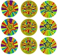 Foil Smiley Face Star Stickers (54 stickers)
