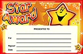 A5 Reward Certificates Star Award (Pack 10)