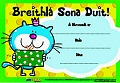 A5 Reward Certificates Breithla Sona Duit (Pack 20)