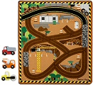 Round the Construction Zone Work Site Rug (Rug, 3 Vehicles & Construction Play Pieces)