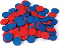 Round Counters 2-Coloured Red/Blue 25mm (Bag 100)
